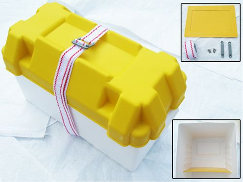 Large Battery Box - Leisure Premium Buckle Strap Fixing Brackets Divider